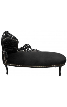 Large baroque chaise longue black velvet and black wood