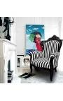 Grand fauteuil de style baroque rayé noir et blanc et bois noir