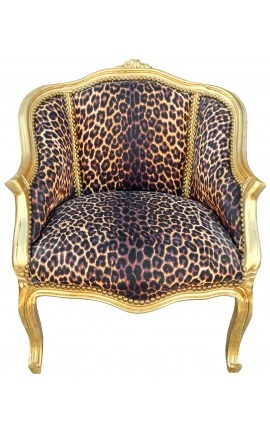 Bergere armchair Louis XV style leopard fabric and gold wood