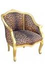 Bergère de style Louis XV léopard et bois doré
