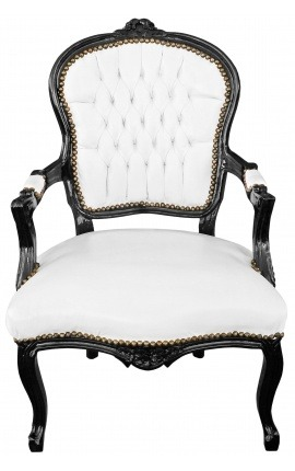 Baroque armchair of Louis XV style false white skin leather and black lacquered wood