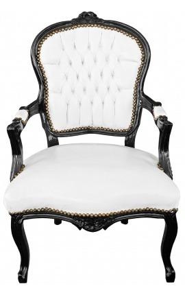 Fauteuil Louis XV de style baroque simili cuir blanc et bois noir