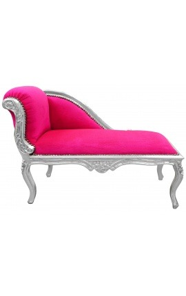 Louis XV chaise longue fuchsia pink velvet fabric and silver wood