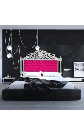 Baroque bed headboard fuchsia velvet fabric and silver wood