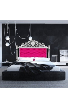 Baroque bed headboard fuchsia velvet fabric and silver wood