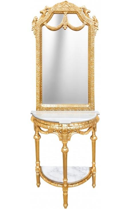 Console demi-lune avec miroir de style baroque en bois doré et marbre blanc