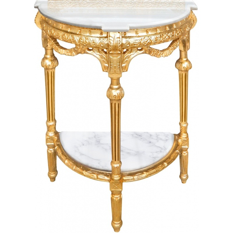 Half Round Console With Mirror Gilded Wood And White Marble