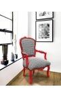 [Edition Limitée] Fauteuil Louis XV de style baroque tissu à motifs geometriques, bois rouge