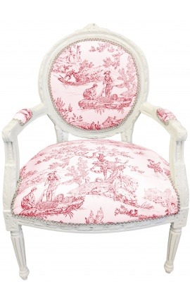 [Limited Edition] Armchair of Louis XVI style toile de Jouy and beige wood