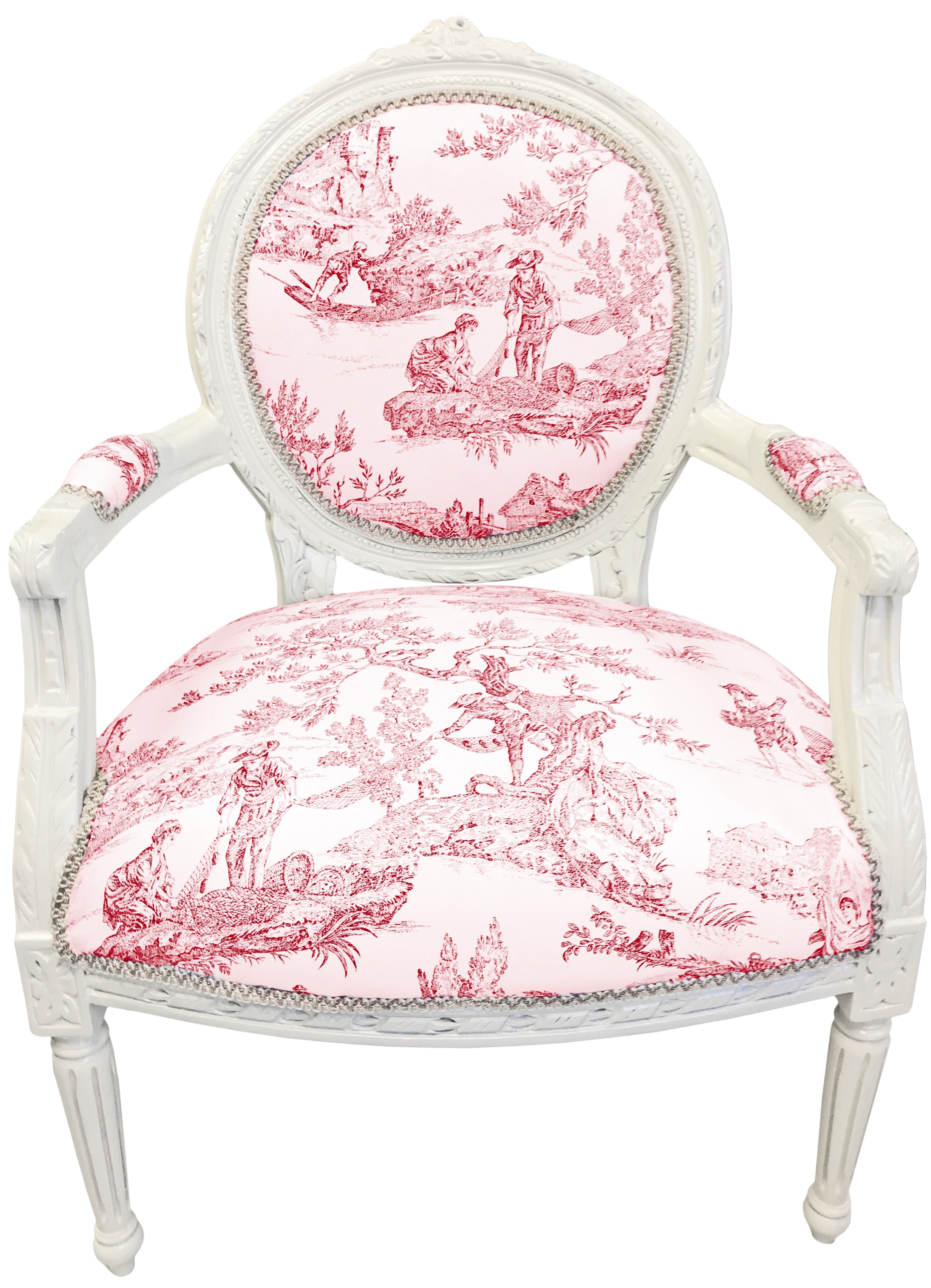Surprising Baroque Armchair Of Louis Xvi Style Toile De Jouy And Beige Wood Caraccident5 Cool Chair Designs And Ideas Caraccident5Info