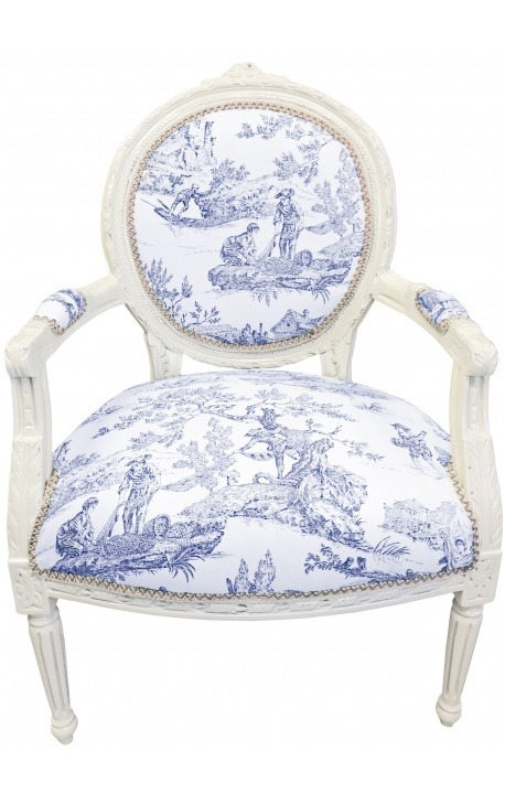 [Limited Edition] Armchair of Louis XVI style blue toile de Jouy and beige wood