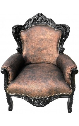 [Limited Edition] Big baroque style armchair copper crocodile leatherette and black wood