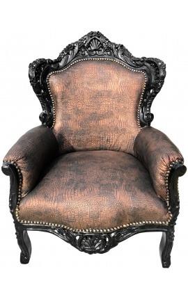 [Limited Edition] Большое кресло в стиле барокко из медной кожи крокодила и черного дерева