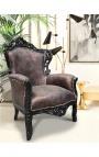 [Edition Limitée] Grand fauteuil de style Baroque simili cuir crocodile cuivré et bois noir