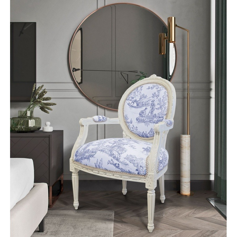 Prime Baroque Armchair Of Louis Xvi Style Blue Toile De Jouy And Machost Co Dining Chair Design Ideas Machostcouk