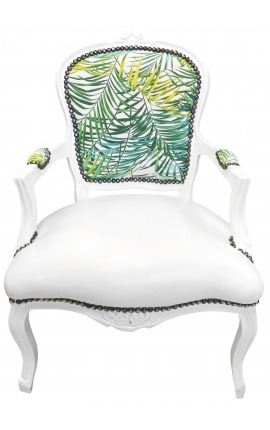 [Limited Edition] Baroque armchair Louis XV printed foliage & leatherette, white wood