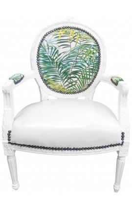 [Limited Edition] Барокко кресло Louis XVI стиль с набивным рисунком из листвы и белого дерева