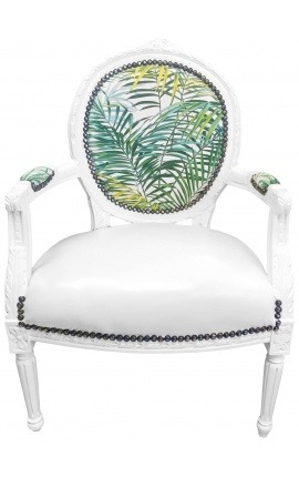 [Limited Edition] Baroque armchair Louis XVI printed foliage & leatherette, white wood