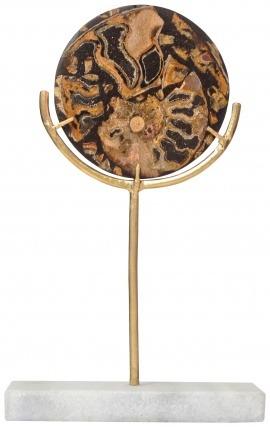 Disque noir avec ammonites sur support doré et marbre blanc (Petit modèle)