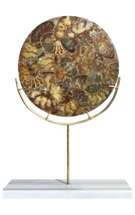 Grand disque décoratif marron avec ammonites sur support doré et marbre blanc