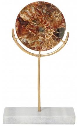 Disque marron avec ammonites sur support doré et marbre blanc (Petit modèle)