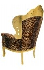 Grand fauteuil de style Baroque tissu léopard et bois doré