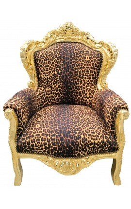 Big baroque style armchair leopard fabric and gilded wood