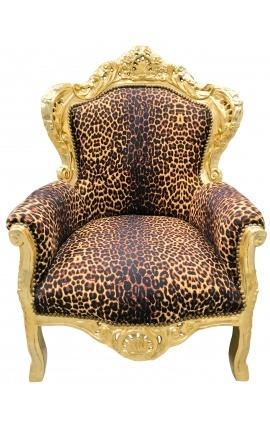 Большие кресла ткани барокко leopard и золочеными Вуд
