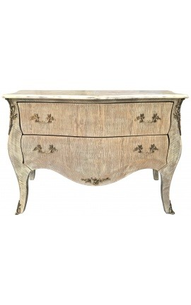 Large Louis XV style chest of drawers oak cérusé beige patina