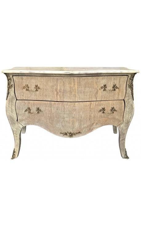 Large Louis XV style chest of drawers oak cérusé beige patina