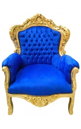 Big baroque style armchair blue velvet and gold wood