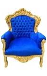 Гранд стиль барокко кресло ткань синий бархат и золочеными Вуд