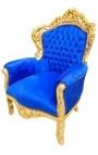 Grand fauteuil de style Baroque tissu velours bleu et bois doré