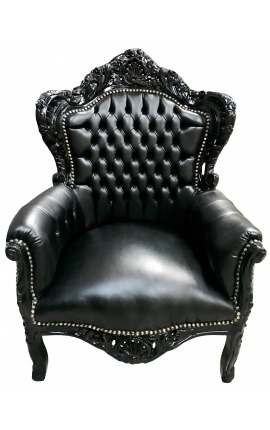 Big baroque style armchair black faux leather and lacquered wood