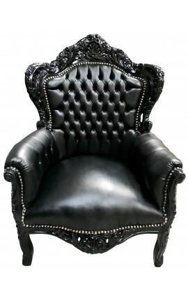 Grand fauteuil de style Baroque simili cuir noir et bois noir