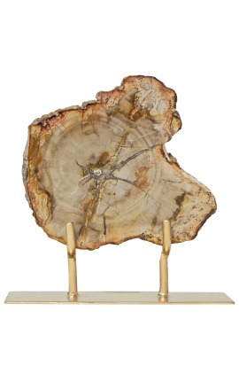 Fossilized wood on a gold metal stand Model 1