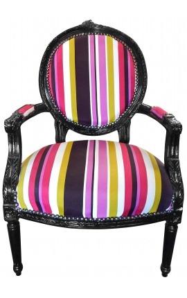 Кресло Louis XVI стиле многоцветная полосатая ткань и черное дерево