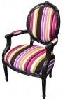 Baroque armchair Louis XVI multicolor striped fabric and black wood