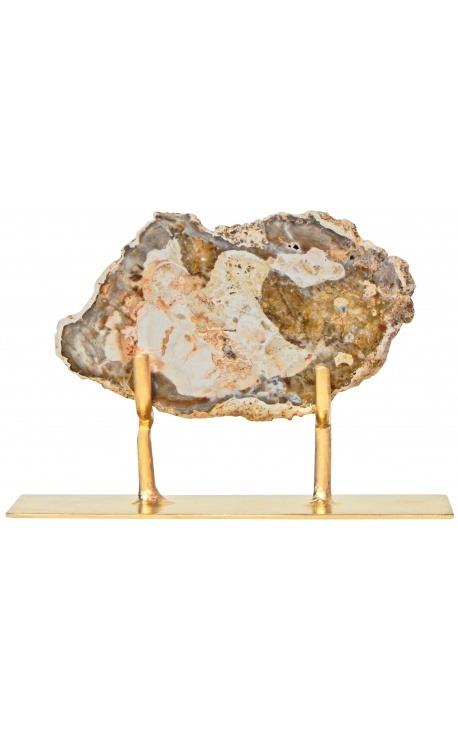 Bois fossilisé sur support en métal doré Modèle 2