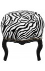 Baroque footrest Louis XV zebra fabric and black wood