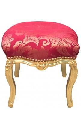 """Repose-pied baroque de style Louis XV """"Gobelins"""" rouge et bois doré"""