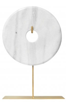 """Grand disque """"bi"""" décoratif en marbre blanc sur support doré"""
