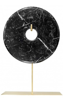 "Large ""bi"" decorative disk in black marble on a gold stand"