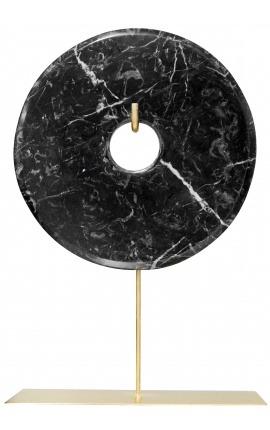 """Grand disque """"bi"""" décoratif en marbre noir sur support doré"""