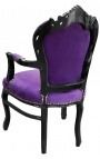 Armchair Baroque Rococo style purple texture and black lacquered wood