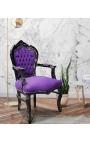 Fauteuil de style Baroque Rococo velours mauve et bois noir