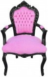 Baroque rococo style armchair pink velvet fabric and black wood