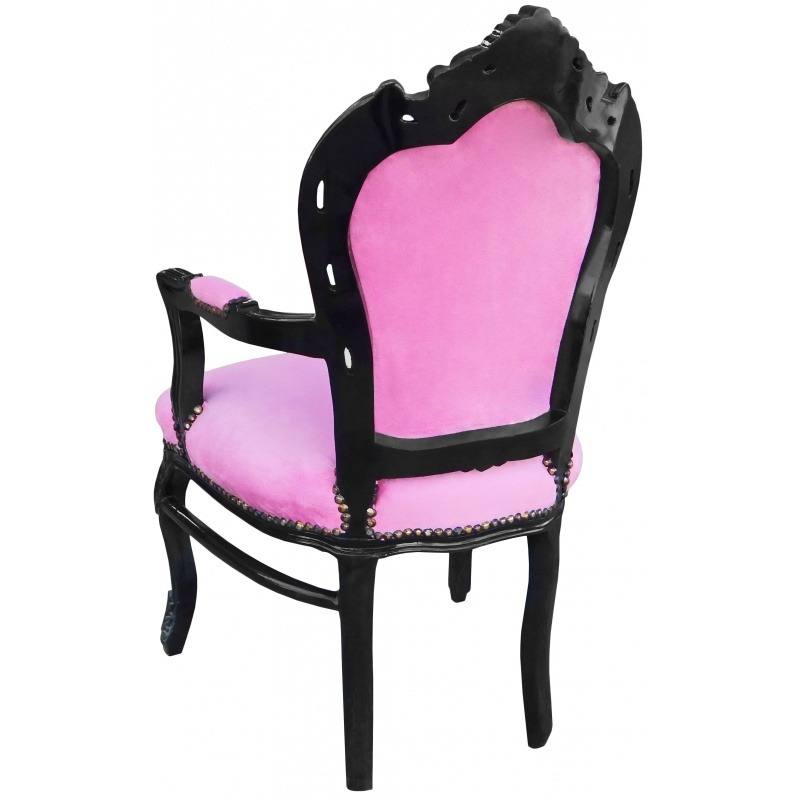 Baroque Rococo style armchair pink fabric and black ...