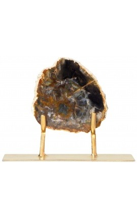 Fossilized wood on a gold metal stand Model 3
