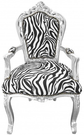Armchair Baroque Rococo style zebra printed fabric and silver leaf wood